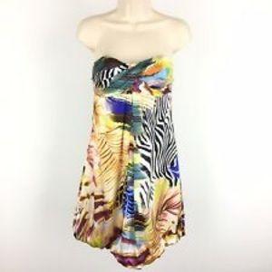 CACH'E Strapless Silk Dress